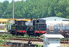 "LSWR 0298 Class 2-4-0WT 30587 & B4 Class 0-4-0T 96 (BR 30096) ""Normandy"" wait patiently to be moved from Eastleigh East Yard to the Works for the open days. 21st May 2009."