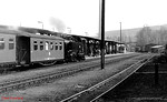 99 1771 runs into Cranzahl station with a passenger train from Kurort Oberwiesenthal. 13th April 1991.