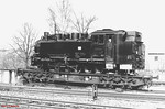 This 750mm gauge 2-10-2T, devoid of numbers, and loaded onto a standard-gauge wagon, was photographed at Cranzahl on 13th April 1991.