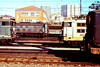 Toulouse depot is situated right next to Toulouse Matabiau station, the maintenance buildings are at right angles to the running lines, being accessed via two turntables and a traverser; with such an arrangement, I was able to note 49 loco numbers from the station platforms! View across the loco yard from the station on 6th March 1989.