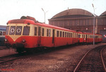 Withdrawn SNCF diesel railcars X2423 & X2425 are seen at Rennes depot on 27th December 1988.
