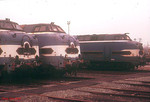 Three unidentified withdrawn 65000 class diesels are seen at Nantes depot, where 19 of the 20 strong class were to be found dumped on 27th December 1988. The only one of the class not present was 65010.