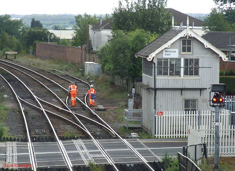 Worksop East signalbox and level crossing. 20th August 2009.